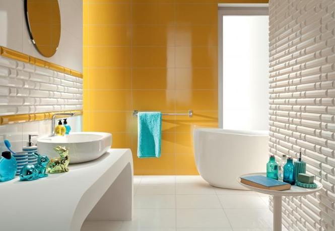 Aranżacja łazienki z mocnym akcentem kolorystycznym